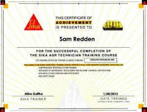 Sika Certificate Samuel